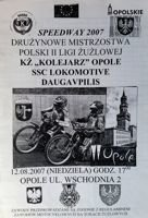 KS Kolejarz Opole - SSC Lokomotive Daugavpilis speedway II league programme (12.08.2007)