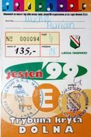 Legia Warsaw Autumn round 1999 ticket booklet
