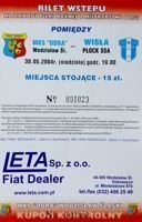 MKS Odra Wodzislaw Slaski - Wisla Plock I League ticket (30.05.2004)