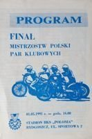 Polish Pairs Speedway Championship Final official programme (Bydgoszcz, 01.05.1991)