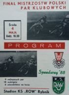 Program Polish Cup Final Club Pairs 05.04.1988 Rybnik