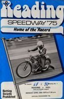Reading Racers - Hull speedway Gulf Oil British League match programme (28.04.1975)
