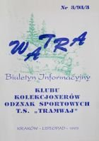 """Watra"" - Bulletin of Sport Collectors Association TS Tramwaj nr 3/1993"