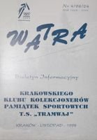 """Watra"" - Bulletin of Sport Collectors Association TS Tramwaj nr 4(24)/1998"