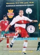 Programme Poland - Luxembourg Qualification Euro 2000 (10.10.1998)