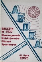 """Agora"" - Bulletin of Sport Souvenirs Collectors Association - volume 2/1987"