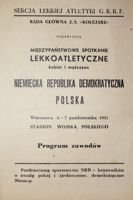 Athletic match East Germany - Poland (06-07.10.1951) official programme