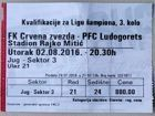 Crvena Zvezda Belgrade - PFC Ludogorets Razgrad UEFA Champions League qualification ticket (02.08.2016)