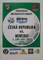 Czech Republic – Norway Euro qualifying official programm (06.09.1995)