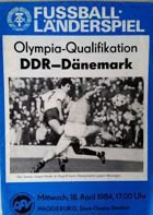 East Germany - Denmark Summer Olympic Games 1984 qualification match programme (18.04.1984)