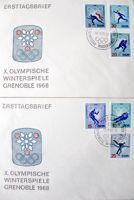 FDC Envelopes X Winter Olympic Games Grenoble 1968 (East Germany)