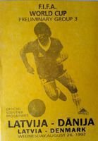 Latvia - Denmark World Cup 1994 qualifying match programme (26.08.1992)