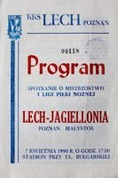 Lech Poznan - Jagiellonia Bialystok I league (07.04.1990) official programme