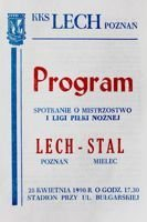 Lech Poznan - Stal Mielec I league (28.04.1990) official programme