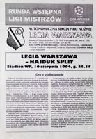 Legia Warsaw - Hajduk Split UEFA Champions League qualifying match programme (10.08.1994)