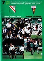 Legia Warsaw - Pogon Szczecin I league match official programme (07.09.2001)