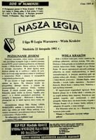 Legia Warsaw - Wisla Cracow I league match programme (22.11.1992)