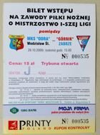MKS Odra Wodzislaw Slaski - Gornik Zabrze I League ticket (28.10.2000)
