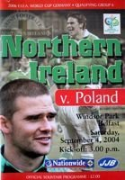 Northern Ireland - Poland World Cup 2006 qualfying (04.09.2004) official programme