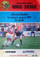 Norway - Sweden freindly match programme (08.08.1991)
