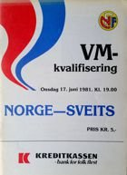 Norway - Switzerland official qualification World Cup 1982 match programme (17.06.1981)