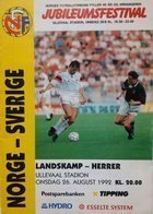 Norwey - Sweden 90th Anniversary Tournament official programm (26.08.1992)
