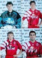 Photos of Bayer 04 Leverkusen players 1993-1994 (4 items) with original autograph's