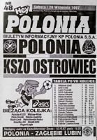 Polonia Warsaw - KSZO Ostrowiec Sw. I league (20.09.1997) official programme