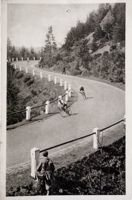 Postcard The Cycling Race on the road Wisla - Glebce (the 50's)