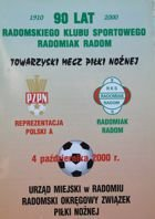 RKS Radomiak Radom - Poland National Team (04.10.2000) - Friendly match official programme