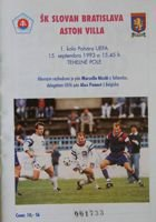 SK Slovan Bratislava - Aston Villa FC (15.09.1993) - Official matchday programme UEFA Cup First Round 1993-1994