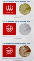 Set of 3 FDC Envelopes of Olympic Games Montreal 1976 Medals (Germany)