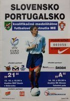 Slovakia - Portugal Euro qualifying official programm (14.10.1998)