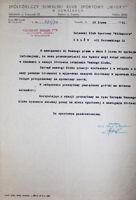 The Congratulatory Letter of SKS Wigry Suwalki z on occasion Wlokniarz Zelow 50th Anniversary