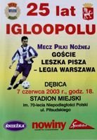 The Leszek Pisz Team - Legia Warsaw friendly match programme (07.06.2003)