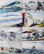 The Postcards of samurais fights in watercolors by Wojciech Zablocki (9 items)