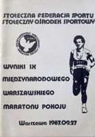 The Results of IX International Peace Warsaw Marathon 27.09.1987