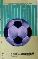 USSR - Finland friendly match official programme (07.05.1986)
