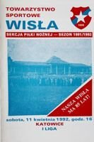Wisla Cracow - GKS Katowice I league official programme (11.04.1992)