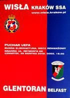 Wisla Cracow - Glentoran FC UEFA Cup match official programme (29.08.2002)