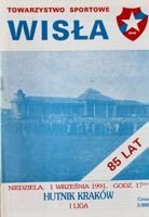Wisla Cracow - Hutnik Cracow I league (01.09.1991) official programme
