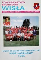 Wisla Cracow - Jagiellonia Bialystok I league official programme (30.10.1992)