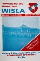 Wisla Cracow - LKS Lodz I league official programme (25.04.1992)