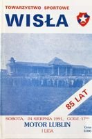 Wisla Cracow - Motor Lublin I league (24.08.1991) official programme