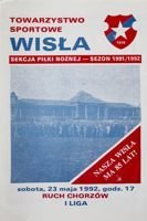 Wisla Cracow - Ruch Chorzow I league official programme (23.05.1992)