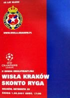 Wisla Cracow - Skonto Riga Champions League qualification match official programme (01.08.2001)
