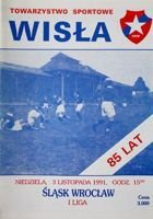 Wisla Cracow - Slask Wroclaw I league official programme (03.11.1991)