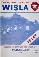 Wisla Cracow - Zaglebie Lubin I league official programme (16.11.1991)