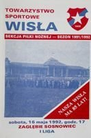 Wisla Cracow - Zaglebie Sosnowiec I league official programme (16.05.1992)