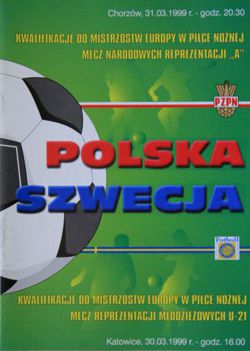 Poland - Sweden (31.03.1999) - Euro 2000 qualification match official programme